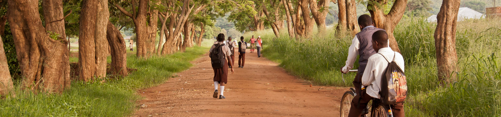 children going to school in rural Zambia
