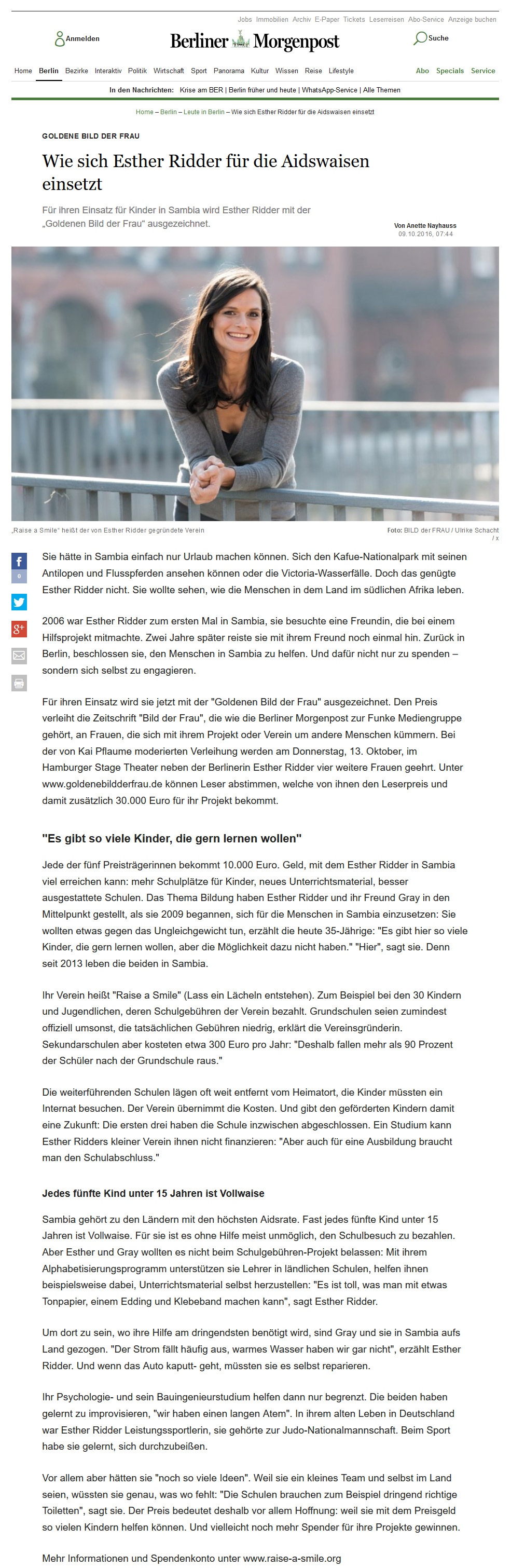 Raise a Smile Artikel in Berliner Morgenpost